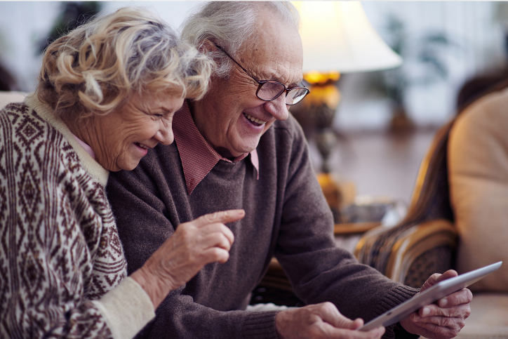 older relatives enjoying technology